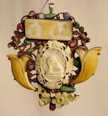 1014: Carved Ivory & Colored Stone Brooch / Pendant NR