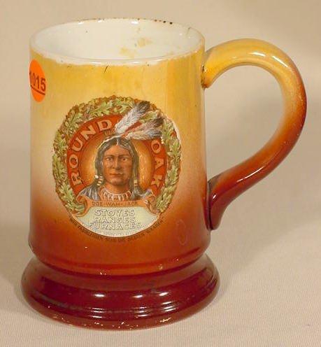 1015: Round Oak Advertising China Handled Mug NR