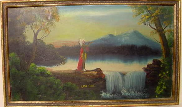 """1020: """"Love Call"""" Oil on Board Painting by Wakita - NR"""