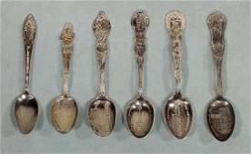 1311 6 Sterling Souvenir Spoons Canada NM NE  NR