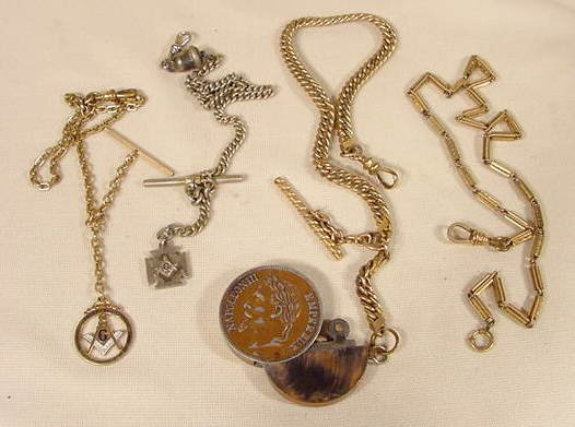 7A: 4 Watch Chains & Fobs: Masonic, Napoleon NR