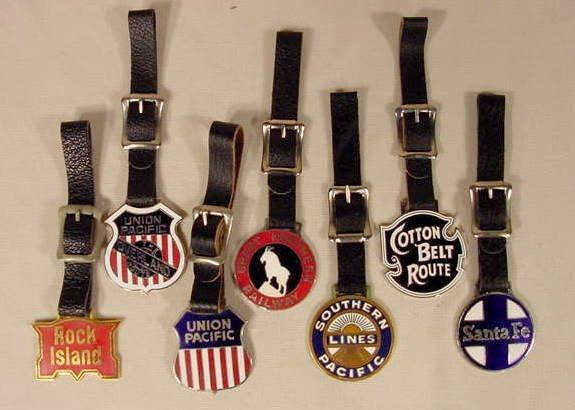 8A: 7 Enameled Railroad Emblem Watch Fobs NR