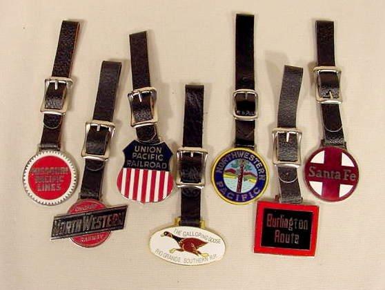9A: 7 Enameled Railroad Emblem Watch Fobs NR