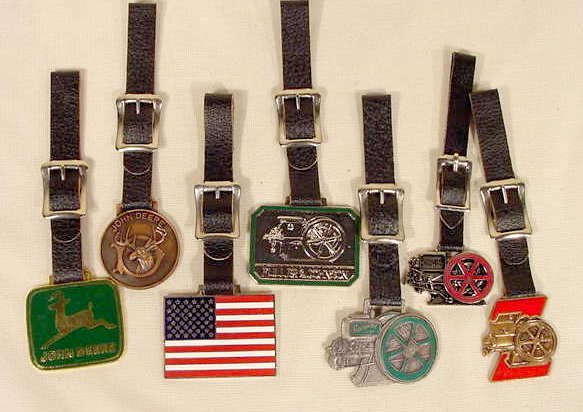 11A: 7 Mostly Enameled Watch Fobs: John Deere & More