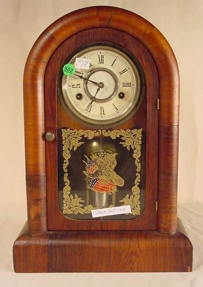 502: Gilbert Round Top Shelf Clock in Mahogany NR