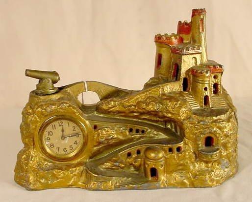 504: New Haven Metal Figural Castle & Cannon Clock NR