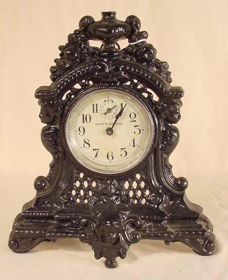 509: 1908 Hunts Special Metal Shelf Alarm Clock NR