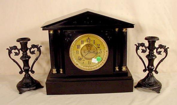 513: Ansonia 3 pc Clock Set with 2 Candlesticks NR