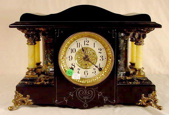 Seth Thomas Black Adamantine Mantle Clock NR