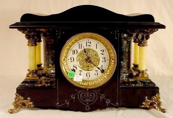 521: Seth Thomas Black Adamantine Mantle Clock NR