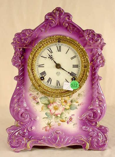 """522: Ansonia """"Witch"""" China Case Clock NR"""