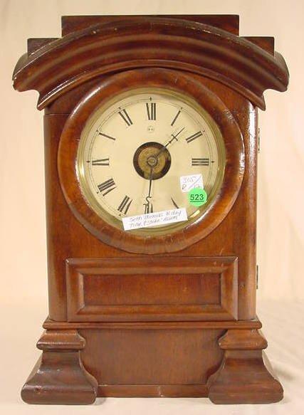 523: Seth Thomas Arch Top Clock in Walnut/Mahogany NR