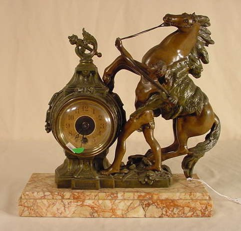 527: French Figural Horse & Human Table Clock NR