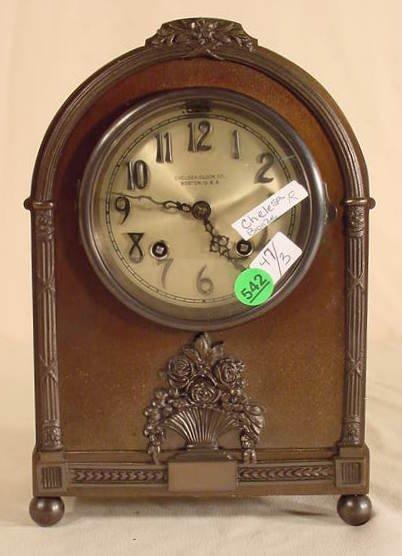542: Chelsea Clock Co. Bronze Desk Clock NR