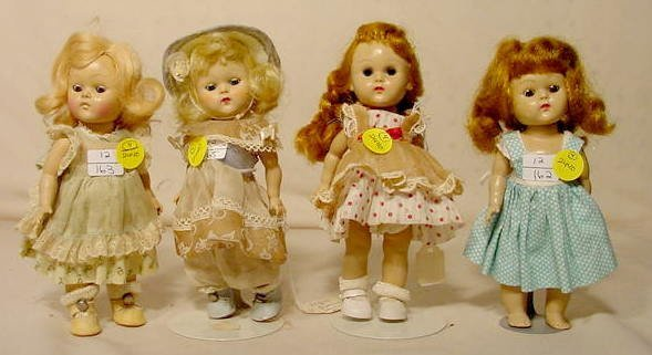 2440: 4 Vogue Hard Plastic Dolls NR