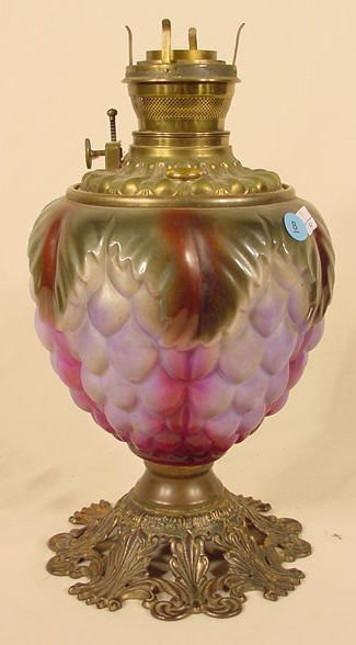 8: Relief Grape & Leaves Glass GWTW Lamp Base NR