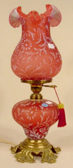 13: Cranberry Opalescent Electric Lamp & Shade NR