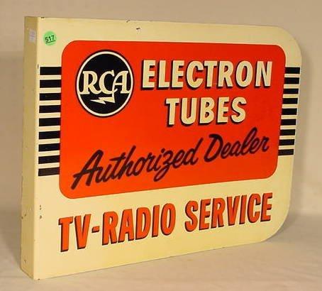 517: RCA Tubes 2-Sided Metal Dealer Sign NR