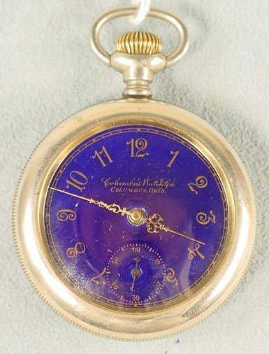 20: Columbus Blue Dial Pocket Watch 14s 17j LS NR