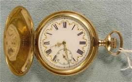 76: Elgin Fancy Dial 17j Pocket Watch in h.c. NR