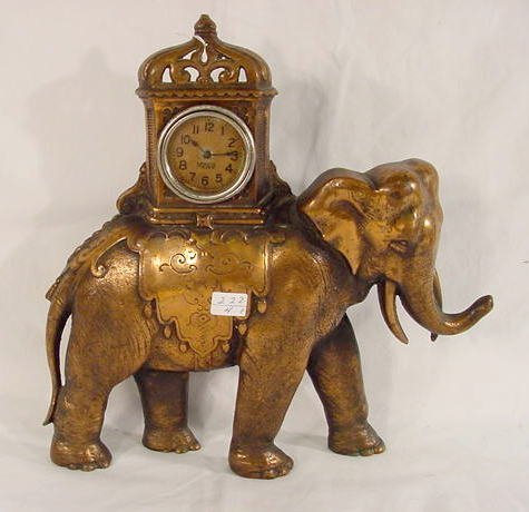 500: Golden Novelty Table Clock, Elephant with Howdah N