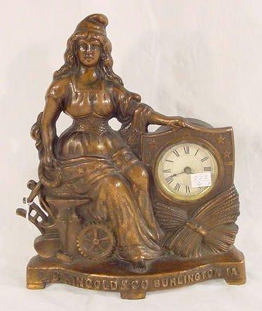 502: L.B. Ringold Burlington Iowa Advertising Clock NR