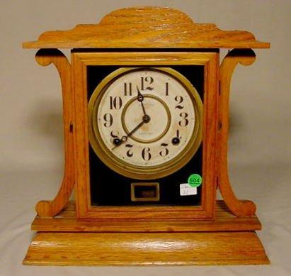 504: Ingraham Oak Mantle Clock NR