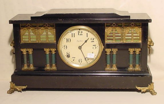 513: Ingraham Palace Mantle Clock with Lion Heads NR