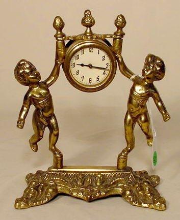 521: Brass Double Cherubs Shelf or Table Clock NR