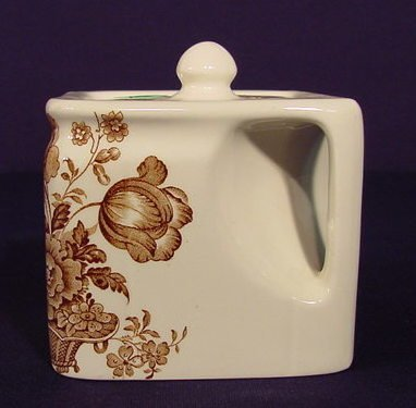 1001: Clarice Cliff Brown Transferware Teapot NR