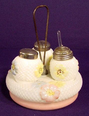 1014: Cosmos Pattern Glass Condiment Set NR