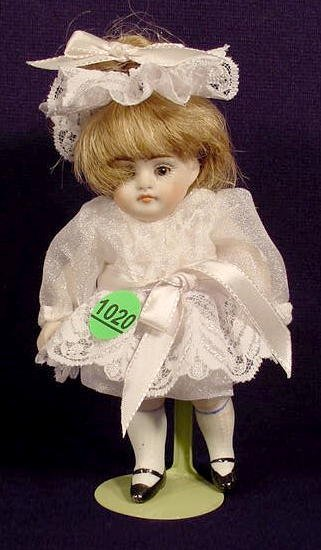 1020: All Bisque Girl Doll Marked 150 3/0 NR
