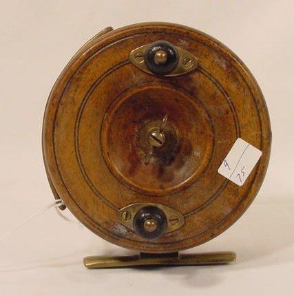 1508: Fishing Reel Brass & Wood, Unmarked NR