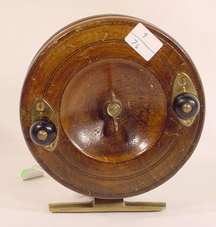 1514: Fishing Reel, Brass & Wood  NR