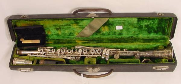 1518: Silver Plated Clarinet In Original Case NR