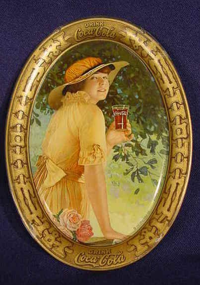 1522: Coca Cola Tip Tray Lady in Yellow NR