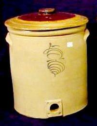 1605: 5 Gallon Cobalt Decorated Salt Glaze Crock NR