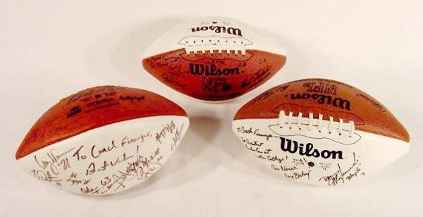 1512: Three Packer Team Autographed Footballs NR