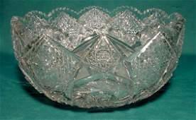 2255 American Brilliant Period Cut Glass Punch Bowl NR