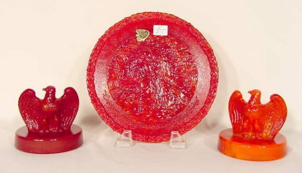 11: Three Fenton Red Slag Bicentennial Pieces NR
