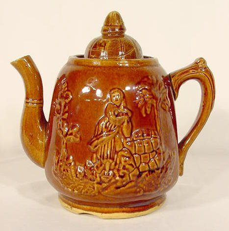 """13: Early """"Rebecca At The Well"""" Stoneware Teapot NR"""