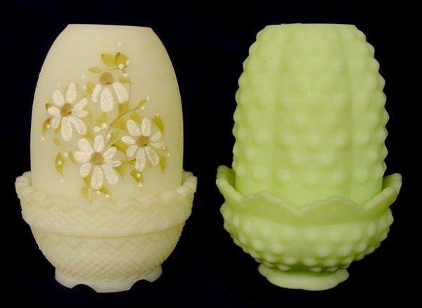 15: Two Fenton Satin Glass Fairy Lamps NR