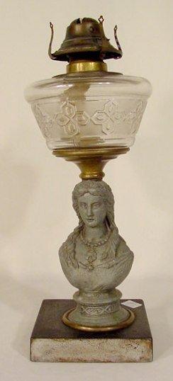 26: Victorian Spelter Figural Stem Kero Lamp NR