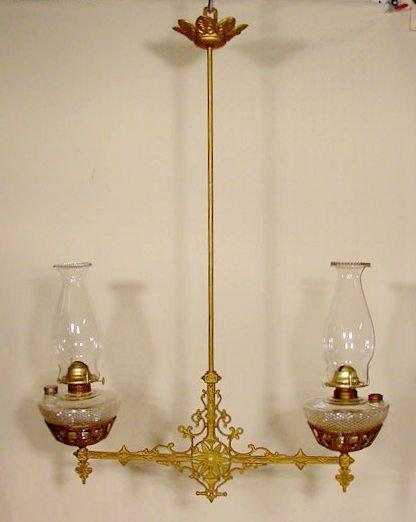 53: Double Cast Iron Ceiling Mount Kero Lamps NR