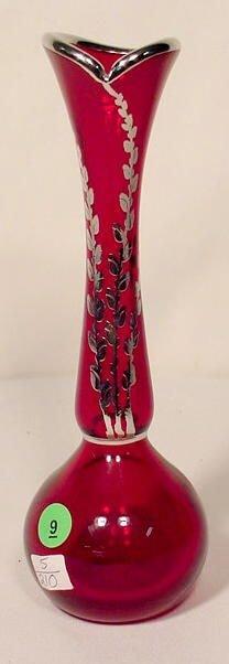 9: Silver Overlay Ruby Art Glass Vase. NR