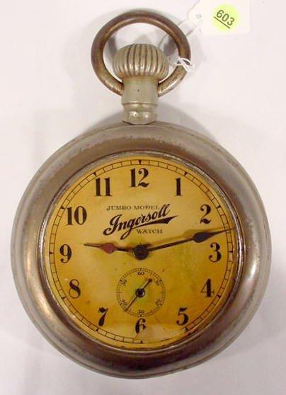 603: Ingersoll Jumbo Model Pocket Watch  NR