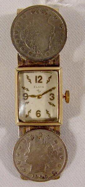 621: Elgin G.F. Money Clip Watch: 2 Liberty Nickels  NR