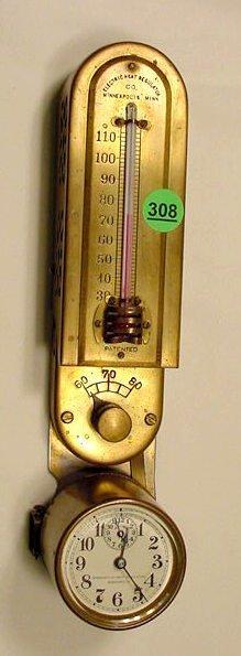 Brass Electric Heat Regulator Clock NR