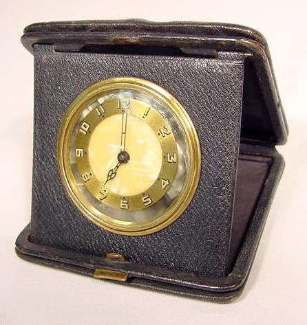 Leather Cased Folding Travel Clock NR