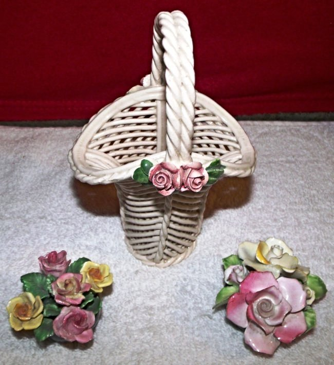 Vintage Bone China Denton Flower Basket